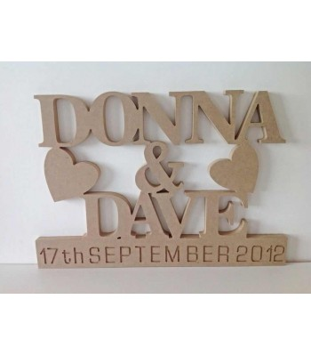Freestanding MDF Personalised Names and Engraved Date On Stand (BT)