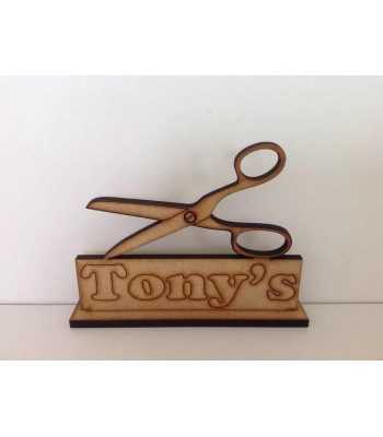 Laser Cut Personalised Scissors On Stand - Hairdressing/Barber Sign - 6MM