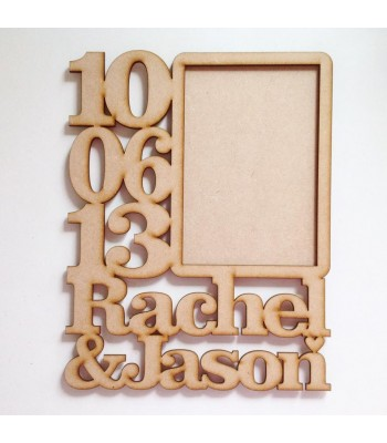 Laser Cut Personalised Anniversary Photo Frame with Name & Date