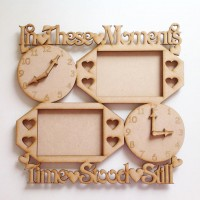 NEW DESIGN 'In these moments time stood still' sign with clock and photo frames - Options Available