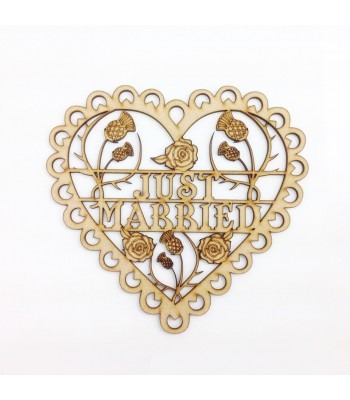 Laser Cut  Detailed 'Just Married' Scalloped Lace Heart with Thistle & Roses