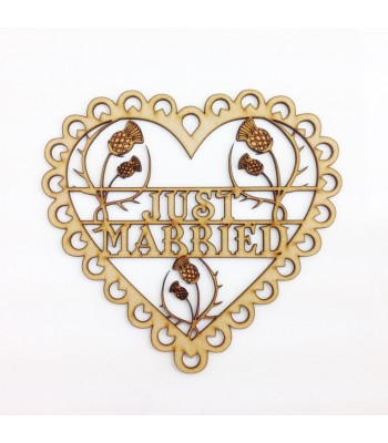 Laser Cut  Detailed 'Just Married' Scalloped Lace Heart with Thistles