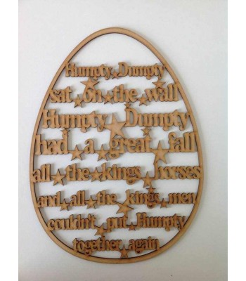 Laser Cut 'Humpty Dumpty' Nursery Rhyme Inside An Egg Frame