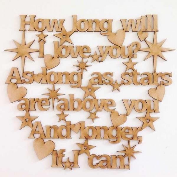 Laser cut 'How long will I love you' Ellie Goulding song Lyrics - Star  Design