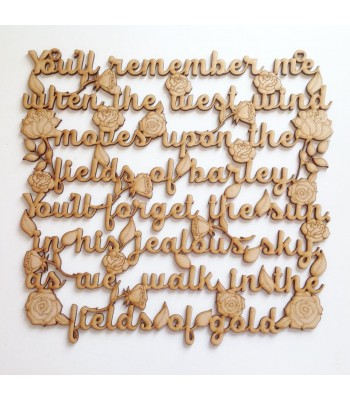 Laser cut 'You'll remember me, when the west wind moves upon the fields of barley' Song Lyrics