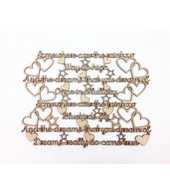 Laser cut 'Somewhere over Rainbow, way up high...' Song Lyrics