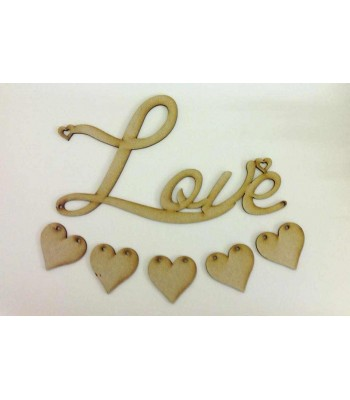 Laser Cut 'Love' word sign with hanging heart bunting