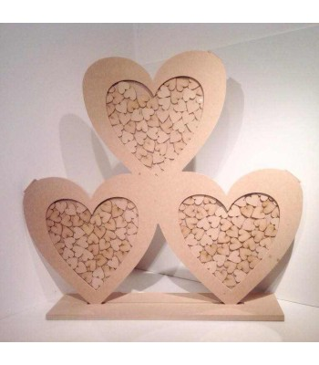 Freestanding MDF Extra Large Unique Design Triple Heart Wedding Drop Box - Heart Tokens