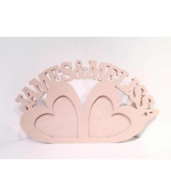 Freestanding MDF Personalised Double love heart Photo Frames with 2 names (CLA)