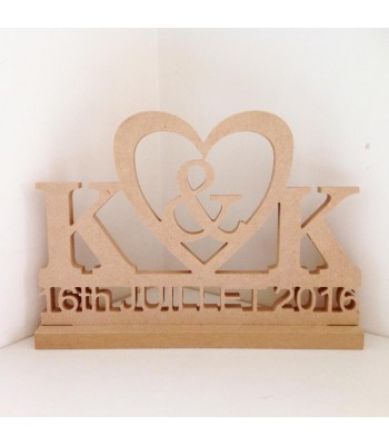 Freestanding MDF Personalised Wedding/Anniversary Sign - Initials & Date (BT) 18mm