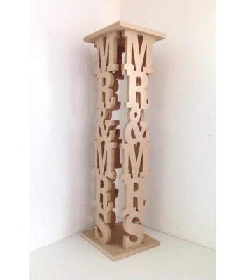 18mm Freestanding MDF 'Mr& Mrs' Wedding Pillar - Display Stand