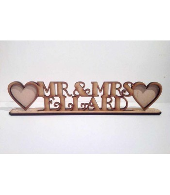 Laser Cut Large Personalised Mr & Mrs with a Surname and Frames On Stand - 6mm thickness