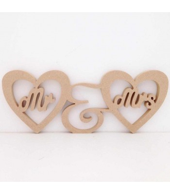 Freestanding MDF Mr & Mrs Heart Frames Joined