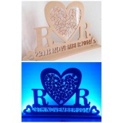 Large Personalised Unique Design Wedding Heart Dropbox with colour changing LED Lighting - Initials & Date (BT)