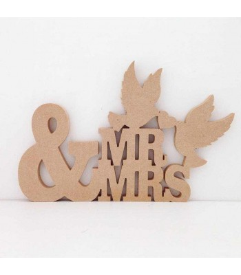 Freestanding MDF Large Mr & Mrs Sign with Doves