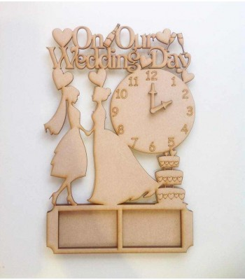 Laser Cut 'On Our Wedding Day' with clock and photo frames - MRS & MRS