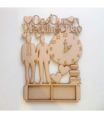 Laser Cut 'On Our Wedding Day' with clock and photo frames - MR & MR