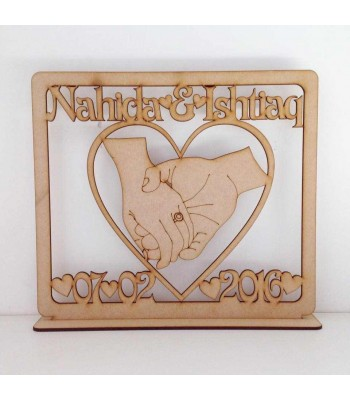 Laser Cut Personalised Wedding Sign on a stand - With names and date