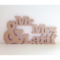 Freestanding MDF Personalised Tumbling Mr Mrs with Large Ampersand (&) and Surname (CLA)