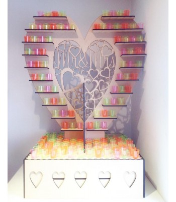 Freestanding Extra Large 'Mr & Mrs' Wedding Table Heart Display Stand