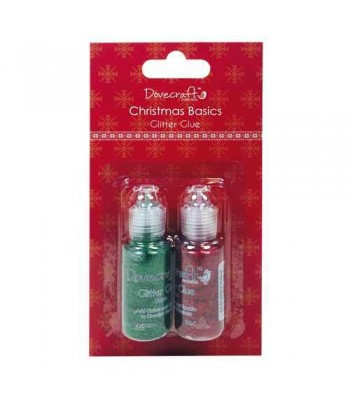 Dovecraft Christmas Basics Glitter Glues - Red and Green Set
