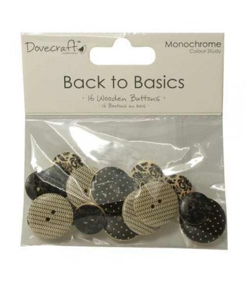 Dovecraft Back to Basics Monochrome - Wooden Buttons