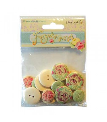 Dovecraft Forget Me Not Wooden Buttons
