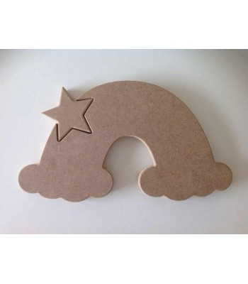 Freestanding MDF Star in a Plain Rainbow