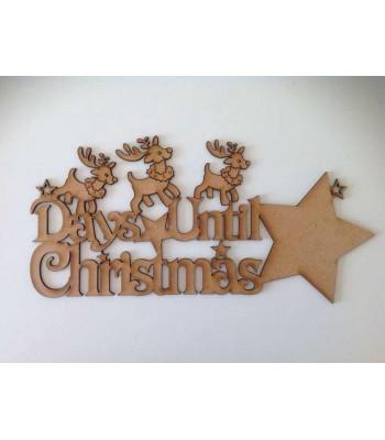 Laser Cut 'Days Until Christmas' Star Countdown sign - Reindeer Design