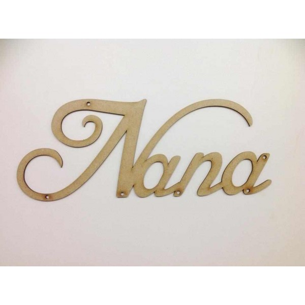 Laser Cut Script Font Nana word with holes (Any Family ...