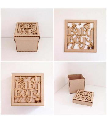 Laser Cut 'Baby Boy' Box Frame Top