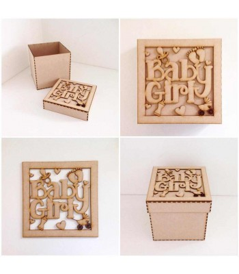Laser Cut 'Baby Girl' Box Frame Top