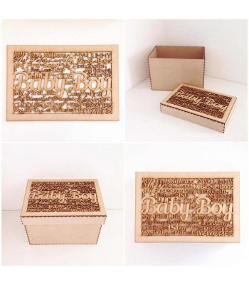 Laser Cut 'Baby Boy' word collage - Large Box Frame Top