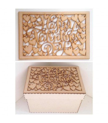 Laser Cut 'Happy Valentines Day' - Large Box Frame Top