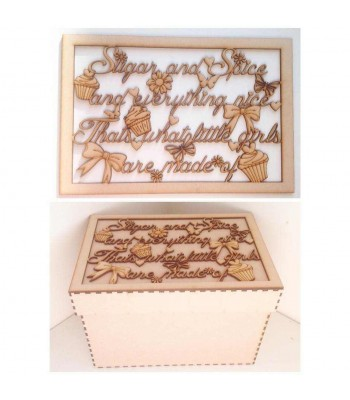 Laser Cut 'Sugar and spice and everything nice' - Large Box Frame Top