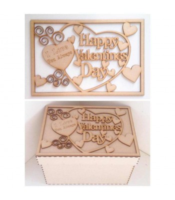 Laser Cut 'Happy Valentines Day, I love you always' - Large Box Frame Top