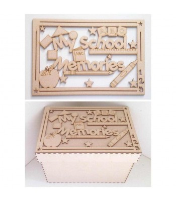 Laser Cut 'My School Memories' Box - Large Box Frame Top