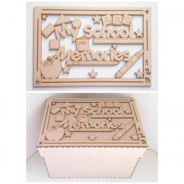 laser cut my school memories box large box frame top