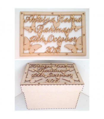 Laser Cut Personalised Girls Butterfly Box - Large Box Frame Top