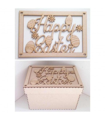 Laser Cut 'Happy Easter' Gift Box - Large Box Frame Top