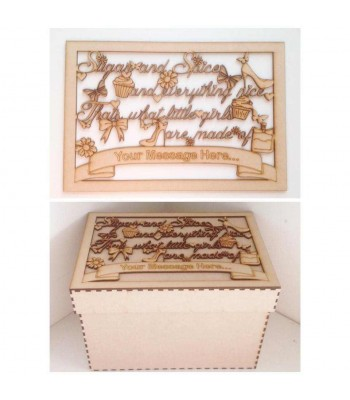 Laser Cut Personalised Girls 'Sugar and Spice and everything nice' Memory Box - Large Box Frame Top