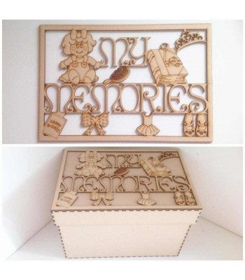 Laser Cut 'My Memories' Girls Memory Box - Large Box Frame Top