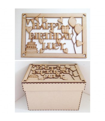 Laser Cut Personalised 'Happy Birthday' Box - Large Box Frame Top - Heart Design
