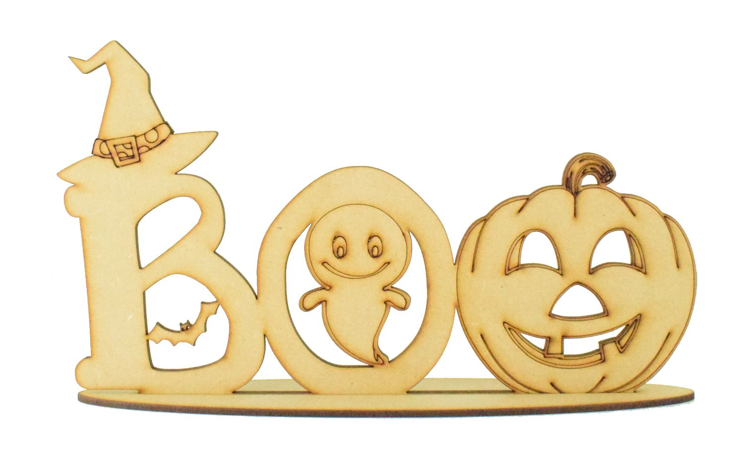 Laser Cut Haloween Scared Cat Shape Pack of 5 Hanging 3mm MDF Various Sizes