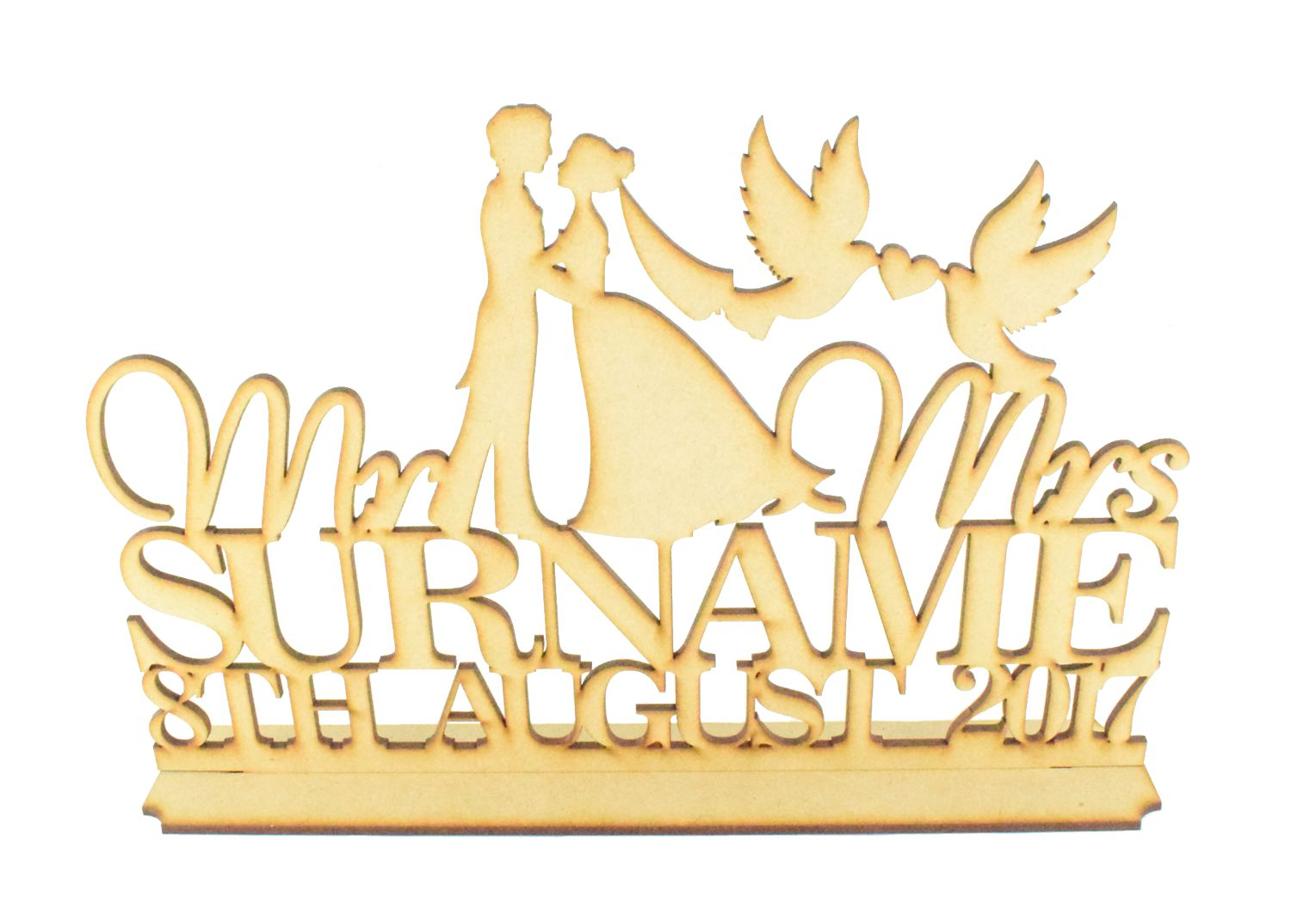MDF Personalised Wedding Sign Mr /& Mrs surname and Date with Couple and Doves